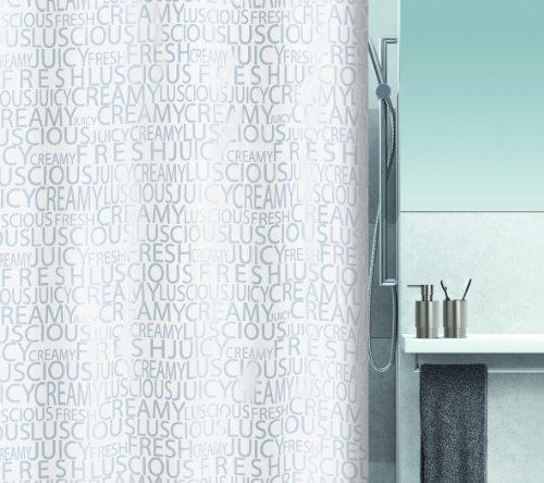 Spirella 10.16276  Textil-Duschvorhang 180 x 200 cm, Creamy Silver