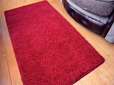Red Machine Washable Thick Soft Shaggy Rug. Available in 7 Sizes. - low-cost UK light store.