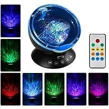 Anpress Ocean Wave Projektor Lampe, integrierter Mini Musik Player TF Kartenschlitz, 4Sounds, 7Buntes Licht, 1H/2H/4H Timer Fernbedienung Projektion, Sleep Nachtlicht für Baby Kinder Erwachsene Schlafzimmer und Wohnzimmer