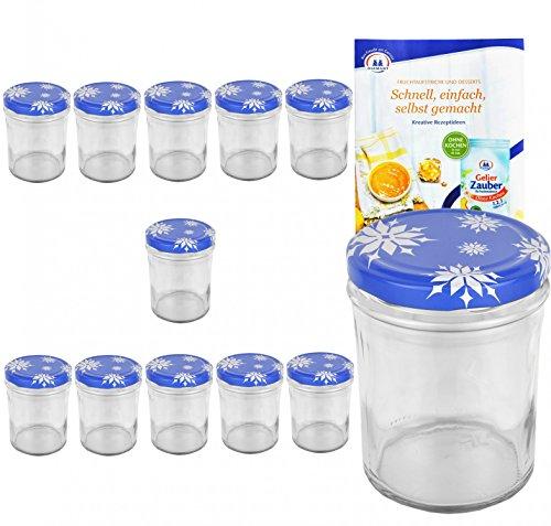MamboCat 12er Set Sturzglas 435 ml to 82 Deckel mit Schneeflocken incl. Diamant Gelierzauber Rezeptheft Marmeladenglas Einmachglas Einweckglas