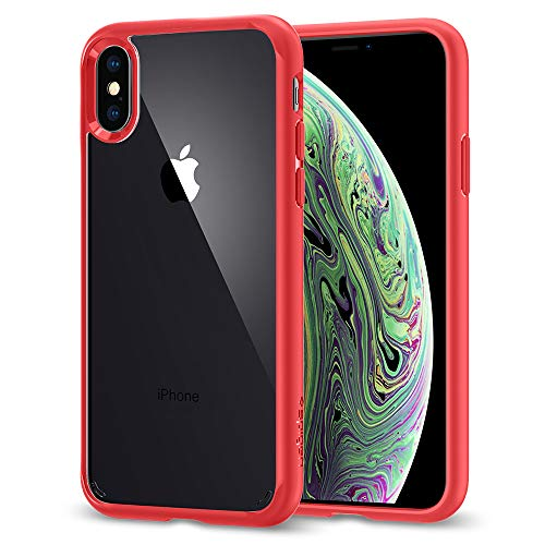 Spigen Ultra Hybrid Kompatibel mit iPhone X Hülle, Einteilige Transparent Durchsichtige Rückschale Silikon Bumper Schutzhülle Case (Rot) 057CS22130 Hybrid Case Rot