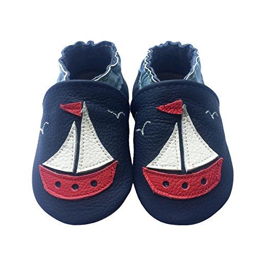 chuhe, Krabbelschuhe, Babyschuhe - in vielen Designs, Rot und Weiß Segelschiff auf Schwarz, 12-18 Monate ()