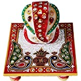 Left Brain Creation Meenakari Work Lord Ganesh Marble Pooja Chowki (White)(10.2 cm x 10.2 cm x 10.2)