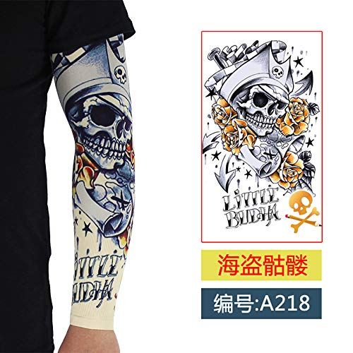 JinRui-Sport Tattoo Sleeve Tattoo Ärmel männlich Blume Arm Sonnencreme Ärmel, XXL, 218 Piraten Schädel 2 - Bilder Von Männlichen Piraten Kostüm