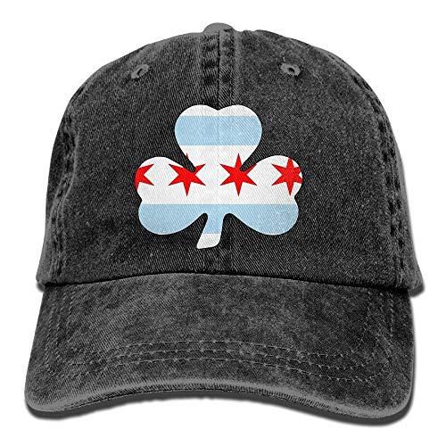 Errterfte Men and Women Irish Chicago Flag 1 Vintage Jeans Baseball Cap Black Personalized Hat Comfortable Adjustable