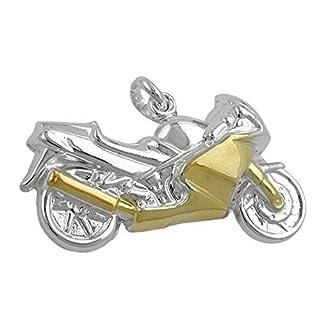 ASS 925 Silber Anhänger Motorrad bicolor rhodiniert Kettenanhänger 15mm x 27mm