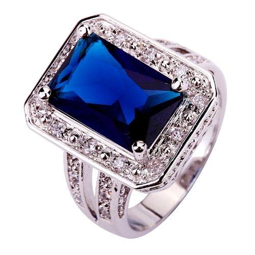 Yazilind 10 * 14mm Smaragd-Schnitt Blau Erstellt Saphir Versilbert Größe 17.25 Ring