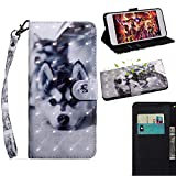 BONROY Samsung Galaxy A6 2018 Case, Wallet Case Soft PU Leather Notebook Design Case with Kickstand Function Card Holder and ID Slot Slim Flip Protective Cover-(TX-Siberian Husky)