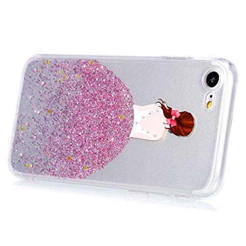 Coque iPhone 6 Plus ,Coque iPhone 6S Plus, Coque Silicone Gel 360 Protection intégral iPhone 6/6S Plus Glitter Etui,Ukayfe [Full-Body 360 Coverage Protective] Bling avec brillants Glitter Paillette Ho Bow fille