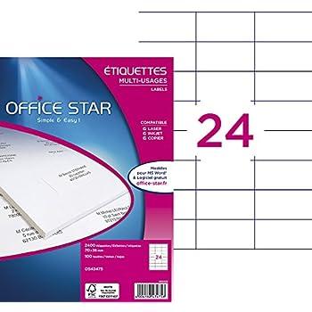 Office Star Boite de 2400 Etiquettes - Multi-Usages -70X36mm - Blanc (OS43475)