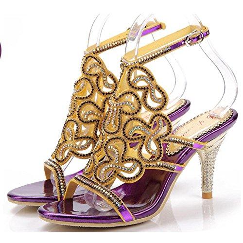 abe0805cbd78ac crystal diamond sandals women hollow buckle slippers thin high heels  handmade leather nightclub evening banquet party pumps shoes . purple . 34