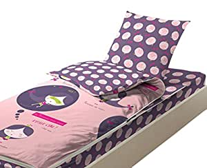 bleu c lin caradou parure de lit enfant 4 pi ces couette incluse shopping rose gris 90x190 cm. Black Bedroom Furniture Sets. Home Design Ideas