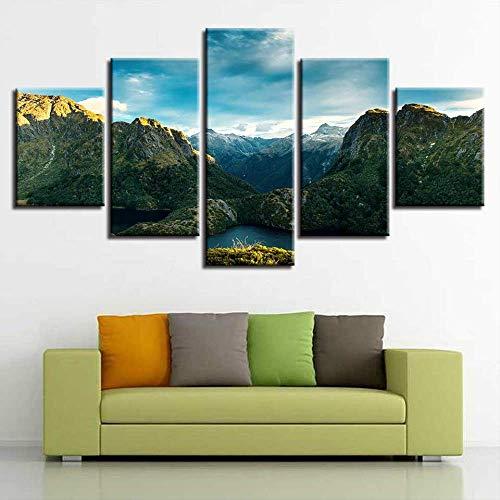 JSYC 5 leinwand Wanddekoration HD Printingwork Leinwandbilder Kunst 5 Stücke Green Mountain Lakes Schöne Landschaft Poster Gemälde (Green Mountain-kamera)
