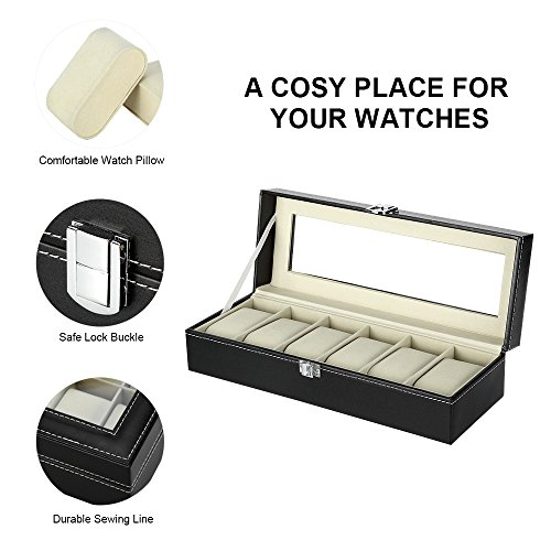 25e6a9745d7d ... Caja de Relojes Estuche para Relojes y joyeros con 6 Compartimentos ...