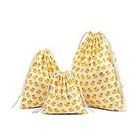 Qinlee 3pcs Cotton Drawstring Bags - Cotton Canvas/Swim / Gym/Book Bag Natural Cotton Shopping School Bags Rucksacks Choice of Three Size (Yellow Duck Pattern)