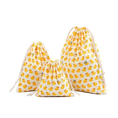 Wicemoon 3x Leinen Baumwolle Kordelzug Bag Baumwolle Solid Gelb Ente Muster Favor Jewelry Beutel für Reisen Rucksäcke Aufbewahrung Zuhause Staubbeutel, Baumwoll-Canvas, siehe abbildung, S/M/L -
