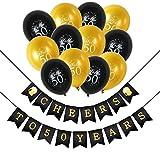 Konsait 50 geburtstag party set, heers zum 50. Geburtstag Girlande, Celebration 50. geburtstag luftballons Latex Ballons Gold und schwarz für Mann oder Frau 50 jahre geburtstag deko