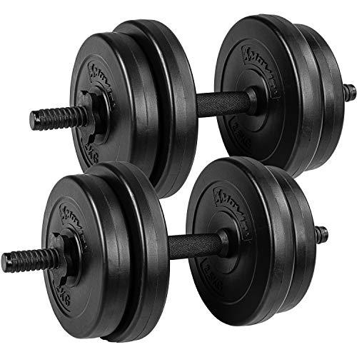 Movit® Kurzhantel 2er Set, Kurzhantelset Gewicht 20kg (2x10kg) Kurzhanteln Stangen gerändelt Hanteln mit Sternverschlüssen