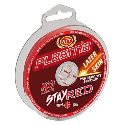 WFT Plasma Stay Red Lazer Skin 150m - Geflochtene Angelschnur zum Spinnfischen & Meeresangeln, Geflechtschnur, Schnur zum Angeln, Durchmesser/Tragkraft:0.14mm / 18kg Tragkraft