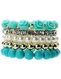La Cabina Bracelet Bijou Fantaisie Femme et Homme à la Mode Style National  Bracelet Rose Fleur Bracelet de Poignet Bangle en Perles Cuir… 5a4aa83f48d
