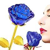 ZJchao Rosa Bañada de Cristal 24K Tallo de Oro - Regalo Ideal para Navidad Día de Madre de Cumpleaños de Boda Aniversario de San Valentín (Azul)