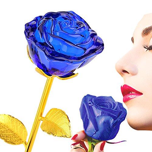 ZJchao 24K Vergoldet Crystal Rose Romantisch Rosen Geschenk 28 x 7cm (blau)