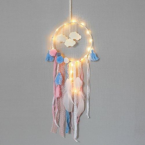 Traumfänger mit Lichter glühen in der dunklen Feder Quaste handgefertigte Perlen Wand hängen Dekor Ornament Hochzeit Kinderzimmer Dekoration (In Dunklen Der Glühen)