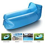 isYoung Portable Inflatable Air Sofa, Ultra Waterproof and Durable for Camping, Beach, Park, Backyard, Picnics or Indoor Wind Bed Lounger (Azul)