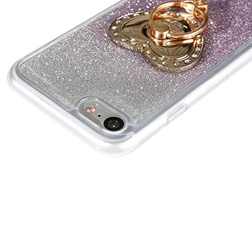 Für iPhone 7 4.7 Zoll Ultra Dünn Silikon Tasche,Für iPhone 7 4.7 Zoll Bling Glitter Schutz Hülle mit Liebe Herzen Ring Halter,Funyye Luxus [Herzen Ring Rosen-Gold Gradient Farbe] Sparkles Glänzend Gli Herzen Ring Lila