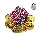 Médaille Enfants Or,30 Pack d'or Vainqueurs Médailles Mini Médaille en Plastique avec Cordon pour Jeux de Sports Fête Concours de Jouets...