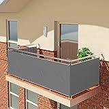 BALCONIO PREMIUM Balkonbespannung - 550 x 85 cm - GRAU - wasserabweisend