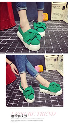 Minetom Femme Casual Bowknot Couleur Unie Slip On Platform Chaussons Wedge Loafer Mocassins Creepers Escarpins Pumps Vert