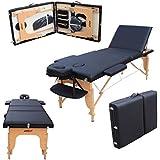 H-ROOT grande Deluxe - Camilla de masaje portátil ligera de 3 secciones zócalo de la cama Terapia Tatoo Salon Reiki Curación sueco Masaje (15 kg, Negro)