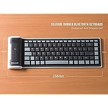 LinDon-Tech bastante portátil inalámbrico impermeable lavable silicona Flexible enrollable Bluetooth teclado para Tablet, Smartphone, ordenador portátil, batería de litio recargable, US-Layout (Negro)