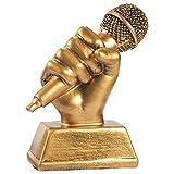 Juvale gouden microfoon trofee - kleine hars zingen award trofee karaoke, zingen wedstrijden, partijen, 5.5 x 4.75 x 2.25 inch