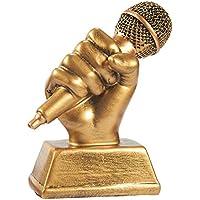 micrófono trofeo de oro–pequeño resina premio trofeo de canto para karaoke, Competiciones de canto, partes, 5,5x 4,75x 2,25pulgadas