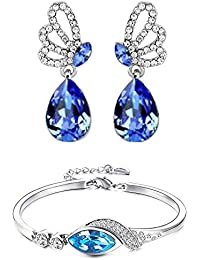 Parisha Jewells Combo Of Stunning Blue Bracelet And Earrings With Crystal Stones CO90105
