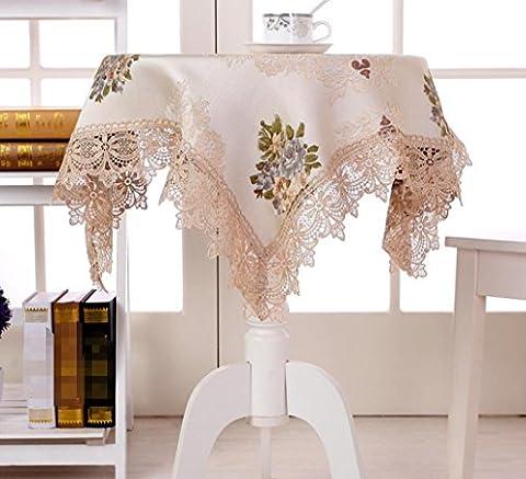 GL&G Upscale Ländliche Mode Spitze Runden Tisch Tischdecke Gestickt Staubdicht Antifouling Home Decoration Multi-Purpose Cover Tuch,B,130*130cm