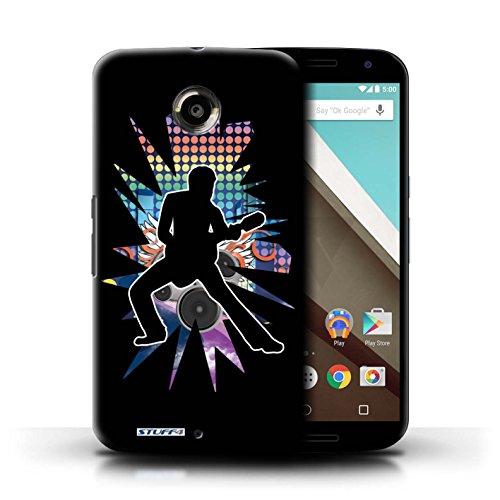 Kobalt® Imprimé Etui / Coque pour Motorola Nexus 6 / Elvis Noir conception / Série Rock Star Pose étendre Noir