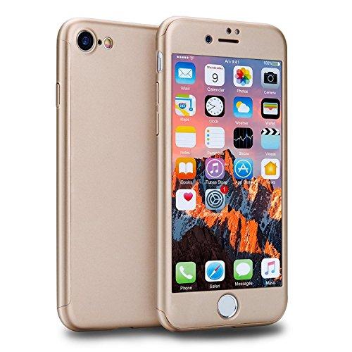 Custodia iPhone 7 Full Body Ultra Sottile Morbido TPU Protettiva Cover Case + Vetro Temperato Proteggi Schermo 3 in 1 Design Front & Indietro Caso&Vetro Film Lusso Protezione Completa (Rosso) Oro