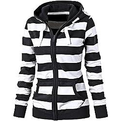 FANTTIGO Sudadera con capucha a rayas Camisa De Entrenamiento Manga Larga Cremallera Capucha Suéter Tops(Negro,XXXL)
