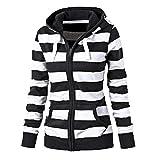 Damen Gestreift Hoodie Reißverschluss Langärmelige Kapuzenpullover Sweatshirt Black XL