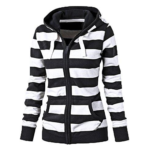 FANTIGO Femme Sweat-shirt à capuche à la mode Casual Hoodie Top Rayée Blouson Veste Noir