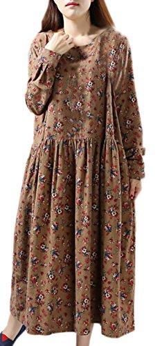 Damen Vintage Retro Druckkleider Loose Blusenkleider Maxikleid Rundhals Langarm Baumwollehanf Freizeitkleid Braun