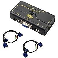 VGA KVM Switch 2 puertos Resolución de hasta 2048x1536 con concentrador USB para PC o interruptor de conmutación Montior por botón