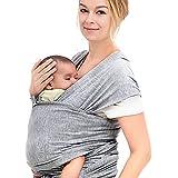 InnooBaby Fular Portabebé Portador de Bebé Algodón Natural Cómodo y Elegante con DVD de instrucciones (Gris)