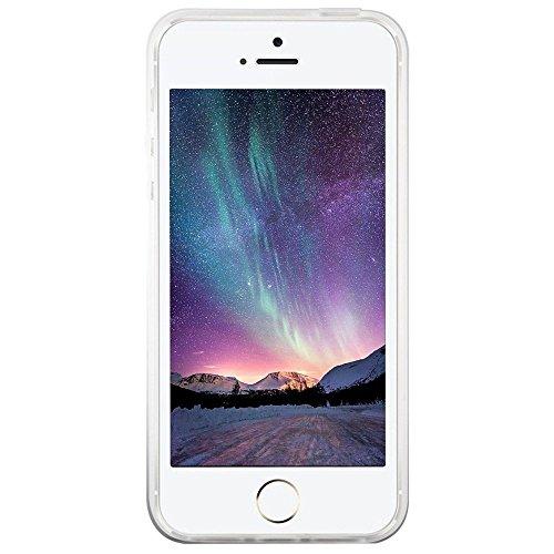 iPhone 5 5S SE Coque , YIGA Pinguin Noir Blanc Bleu Transparent 3D Crystal TPU Silicone Doux TPU Case Cover Housse Etui pour Apple iPhone 5 5S / iPhone SE Blanc Fille Papillon