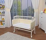 WALDIN Baby Beistellbett mit Matratze und Nestchen, höhen-verstellbar, 16 Modelle wählbar, Buche Massiv-Holz weiß lackiert,gelb/beige