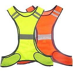 Ciclismo Paseo de perros seguridad la ropa de deporte de alta visibilidad reflectante chaleco de seguridad para adultos niños con bolsillo, hombre, amarillo