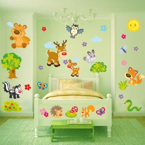 Sticasa - Gli Animali della Foresta stickers murali bambini. Set di 35 adesivi murali per camerette con gli animali della foresta: l'orso, il cervo, il cerbiatto, la puzzola, il gufo, il serpente, il coniglio, la farfalla, lo scoiattolo e la volpe. Trasforma la cameretta dei tuoi bambini!